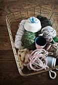 Yarn remnants in wire basket