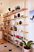 Various ornaments and books on open, wooden shelves in living area