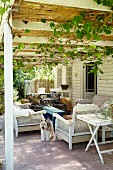 Seating on terrace below climber-covered pergola adjoining rustic wooden house