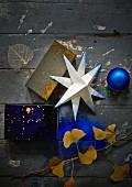 Blue and gold Christmas arrangement