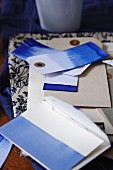 Blue and white card and paper gift tags
