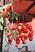 Red apples hanging from wicker wreath