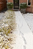 Footprints on snowy path leading to front door