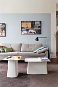 Sofa and designer side tables in living room