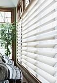 Window blinds in living room