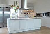 Open-plan designer kitchen with stainless steel appliances and central island counter with extractor hood