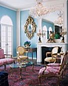 Rococo living room with antique Louis XVI furniture in house in Honolulu, Hawaii