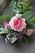 Posy of roses & herbs