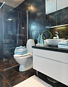 Washstand with countertop basin, pedestal toilet and floor-level shower with glass screen in dark-tiled bathroom