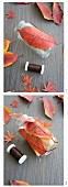 Decorating a candle lantern with autumn leaves