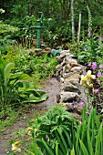 Path running along stone wall in densely planted garden
