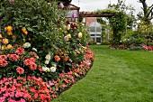 Garten mit blühenden Dahlien im Beet, im Hintergrund Wohnhaus mit Pergola
