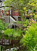 Pond with waterfall emerging from boulder in front of Scandinavian wooden house