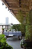 Tisch mit schwarz-weiß karierter Tischdecke und Kübelpflanzen auf Veranda mit Stadtblick