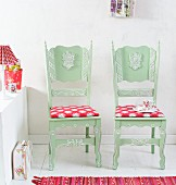Make-over - restored, carved, green kitchen chairs with ethnic, floral seat cushions