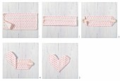 Instruction for folding napkins into love-hearts