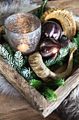 Arrangement of animal horns, baubles and candle lantern on festively decorated tray