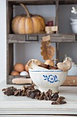 Mushrooms and onions in blue and white painted bowl