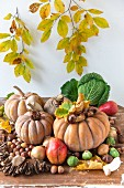 Autumnal still-life arrangement of pumpkins, nuts, pears and vegetables from the cabbage family