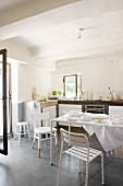 Modern kitchen with white furnishings