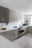 Küchenzeile mit weisser Arbeitsplatte und grau lackierten Unterschränken in grosszügiger Küche