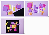 Instructions for making 3D-effect pictures from square origami paper of various sizes