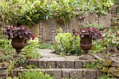 Planted urns in front of stone wall