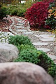 Round stepping stones in gravel path leading through Japanese garden