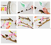Branches decoratively painted in neon colours