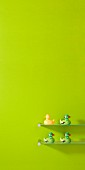 Brightly coloured rubber ducks on glass shelves against wall painted spring green