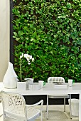 Green wall decorated with faux leaves behind white dining table and woven chairs