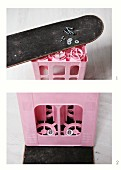 DIY instructions for making stool out of pink drinks crate bolted to old skateboard