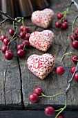 Chocolate love hearts and hawthorn haws