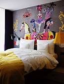 Circus mural above double bed in 25hours Hotel in Vienna, Austria