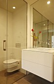 White washstand with drawers next to glazed toilet cubicle