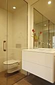 Waschtisch mit weißem Schubladenschrank, neben verglastem WC Bereich