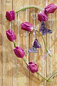 Wire heart with purple tulips