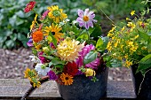 Colourful summer bouquet of garden flowers