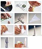 Hand-crafting a festive table decoration from white linen napkin and calla lily