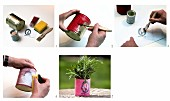 Instructions for painting and covering tin cans with paper as idea for decorative herb pots