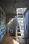 Narrow landing with fitted shelving and ladder leading to roof terrace