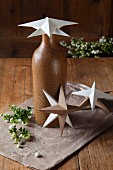 Hand-made paper stars as Christmas decorations
