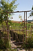 Garden gate made from sticks and view over summery landscape