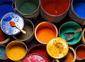Pigments in metal buckets
