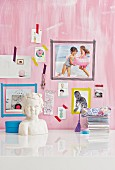 Hand-made pinboard with washi tape picture frames