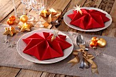 Folded napkins as festive table decorations