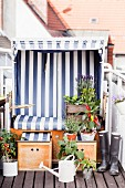 Beach chair on balcony decorated with potted vegetable plants