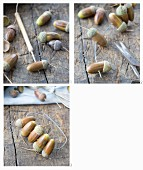 Hand-crafting a napkin ring threaded with acorns
