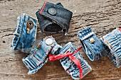 Bracelets made from old denim