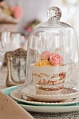 Roses in teacup with printed design under glass cover